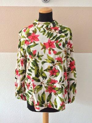 21072702 Creme rosa Blumen Leinen Bluse von Zara, Gr. XL (NEUw.)