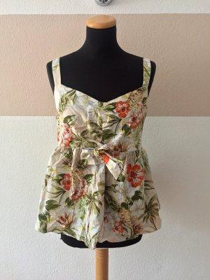 21073101 Creme Blumen Hawaii Top, Bluse von Zara, Gr. XL (NEUw.)