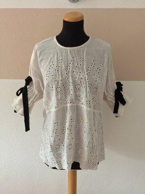 21073104 Weiß creme Lochmuster Schleifen Bluse von Zara, Gr. M