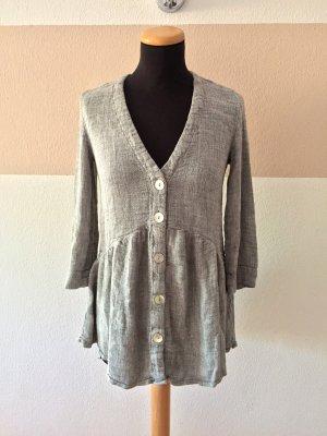 21073107 Grau Knopfreihe Kleid, Tunika Bluse von Zara, Gr. S (NEUw.)