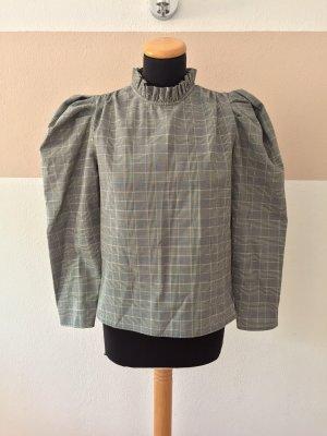 21073108 Grau Karo Business Puffärmel Bluse von Zara, Gr. XS (NEUw.)