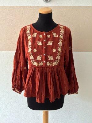 21073109 Orange weiß Baumwolle Stickerei Bluse von Zara, Gr. S