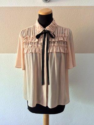 21080302 Rosa Rüschen Schleifen Bluse von Zara, Gr. S (NEUw.)