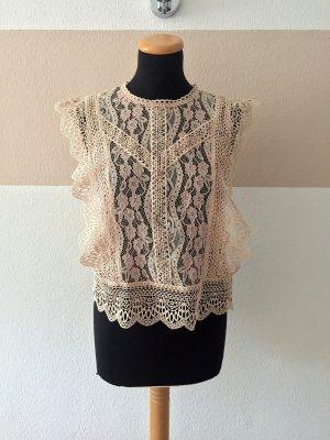 21080303 Rosa Spitzen Top, Bluse von Zara, Gr. M (NEUw.)