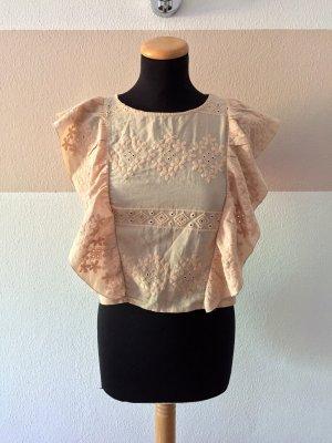 21080304 Rosa creme Stick Rüschen Shirt Bluse von Zara, Gr. S (NEUw.)