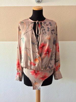 21080401 Rosa Blumen Satin Blusen Body von Zara, Gr. S (NEUw.)