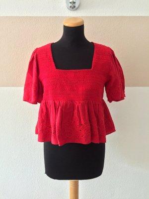 21080402 Rote cropped Puffärmel Raffung Bluse von Zara, Gr. M