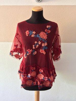 21080403 Rote Blumenstickerei Netz Bluse von Zara, Gr. S