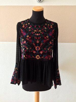 21081309 Schwarze Blumen Stickerei Bluse von Zara, Gr. S (NEUw.)