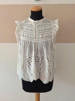 21081401 Weiße Lochmuster Rüschen Stickerei Bluse von Zara, Gr. S