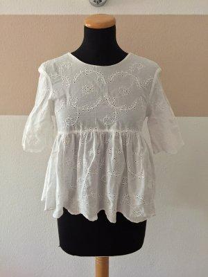 21081402 Weiß Lochmuster Schleifen Bluse von Zara, Gr. XS