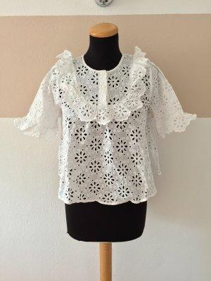 21081406 Weiße Lochmuster Blumen Bluse von Zara, Gr. S