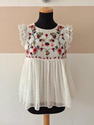 21081407 Weiße Blumenstickerei Bluse von Zara, Gr. XS