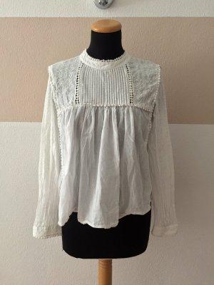 21081409 Weiße Bommel Baumwolle Bluse von Zara, Gr. S