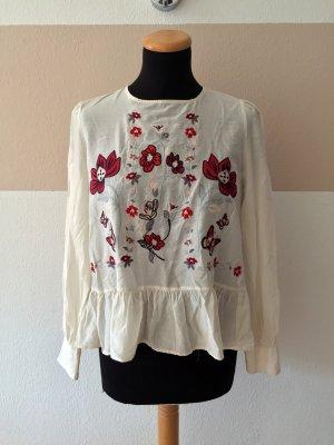 21091001 Weiß bunte Blumen Stickerei Bluse von Zara, Gr. XS