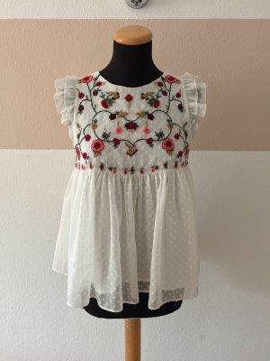 21091002 Weiß bunt Blumen Stickerei Bluse von Zara, Gr. XS
