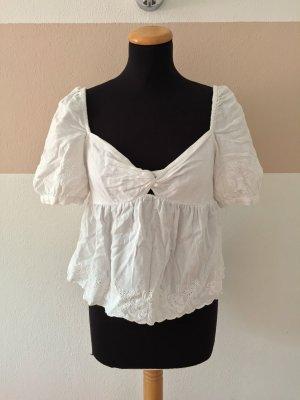 21091003 Weiße Knoten Puffärmel Lochmuster Bluse von Zara, Gr. L