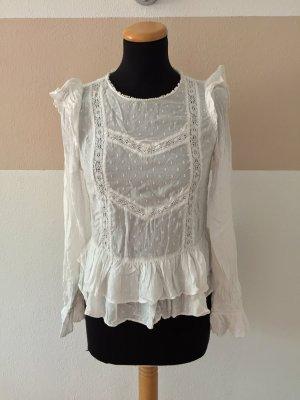 21091004 Weiße Punkte Stickerei Bluse von Zara, Gr. S