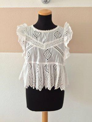 21091005 Weiße Rüschen Lochmuster Bluse von Zara, Gr. S