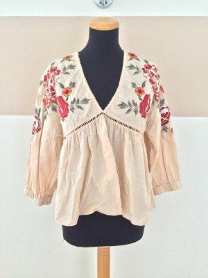 21091901 Apricot creme Blumenstickerei Bluse von Zara, Gr. M