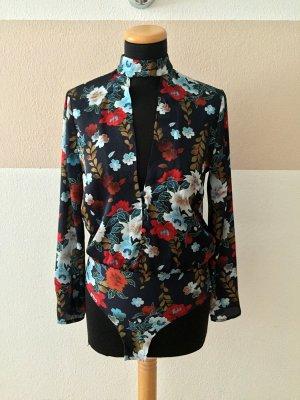 21091904 Blau Blumen Blusen Body von Zara, Gr. S