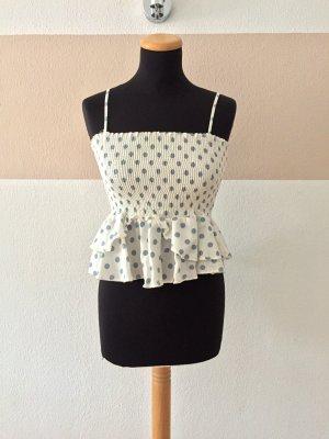 21091906 Weiß blau Punkte Ruffle Top, Sommer Bluse von Zara, Gr. S (NEUw.)