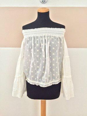 21091907 Weiße Sterne offshoulder Bluse von Zara, Gr. S