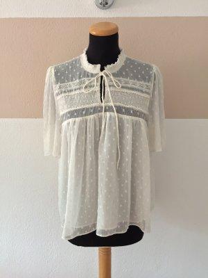 21091908 Weiße Punkte Rüschen Bluse von Zara, Gr. XS