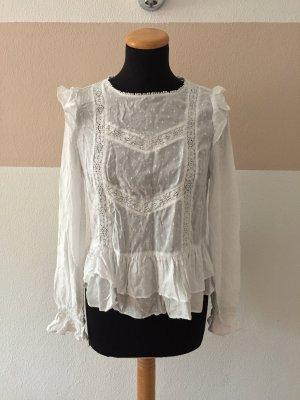 21091909 Weiße Punkte Rüsch Bluse von Zara, Gr. M