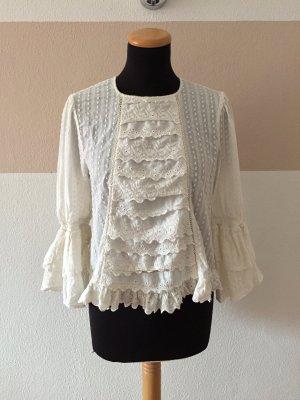 21100302 Weiße Rüschen Baumwolle Bluse von Zara, Gr. XS