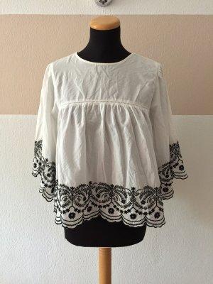 21100304 Weiße schwarz Baumwolle Stickerei Bluse von Zara, Gr. XL