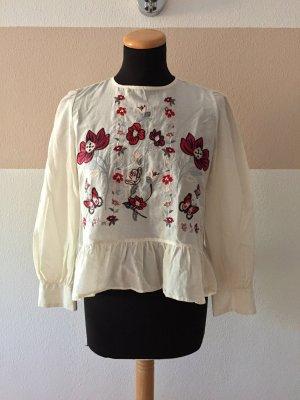 21100401 Weiße Blumenstickerei Bluse von Zara, Gr. XS (NEUw.)