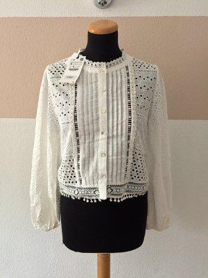 21100403 Weißes Lochmuster Hemd, Bluse von Zara, Gr. M (NEU)