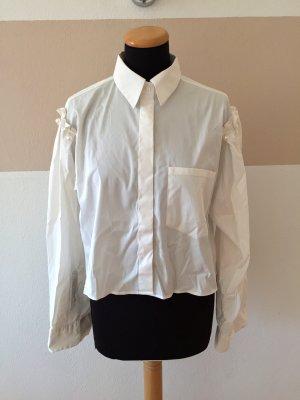21100504 Weißes Perlen Ärmel Hemd, Bluse von Zara, Gr. S