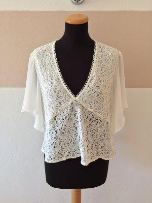 21101301 Weiße Spitzen Bluse von Zara, Gr. L (NEU)
