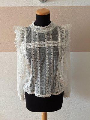 21101302 Weiße Lochmuster Spitzen Bluse von Zara, Gr. S (NEUw.)