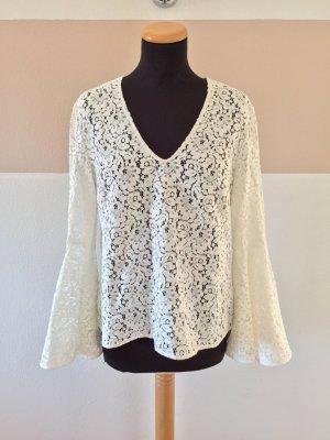 21101304 Weiße Spitzen Volantärmel Bluse von Zara, Gr. M (NEU)