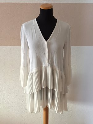 21101305 Weißes Plissee Kleid oder Bluse von Zara, Gr. M (NEU)