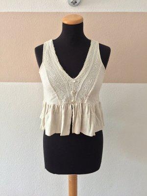 21101307 Weiße creme Stickerei Bluse, Sommertop von Zara, Gr. XS
