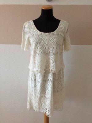 21101309 Weißes Spitzen Baumwolle Kleid von Vila, Gr. XS (NEU)