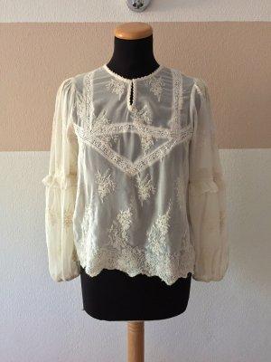 21102003 Weiße Stickerei Bluse von Zara, Gr. XS (NEUw.)