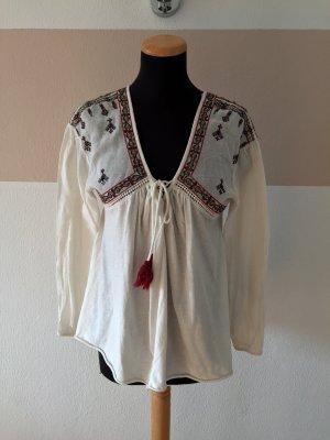 21102005 Weiße Stickerei Bluse von Zara, Gr. S