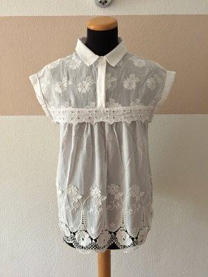 21102006 Weiße Kragen Stickerei Bluse von Zara, Gr. S