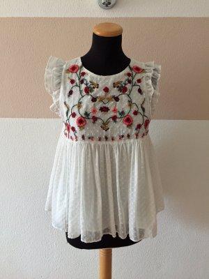 21102007 Weiße Blumen Stickerei Bluse von Zara, Gr. S