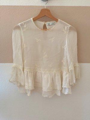 21102201 Weiße Rüschen Stickerei Sommer Bluse von Zara, Gr. XS