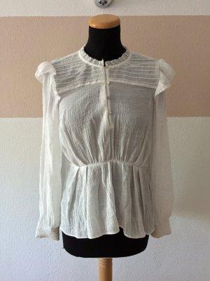 21102203 Weiße Rüschen Basic Bluse von Zara, Gr. XS
