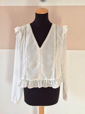 21102205 Weiße Punkte Bluse von Zara, Gr. L (NEUw.)