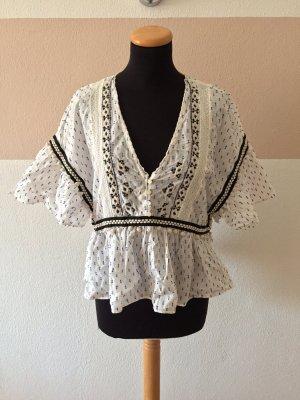 21102208 Weiße Punkte Bommel Bluse von Zara, Gr. L