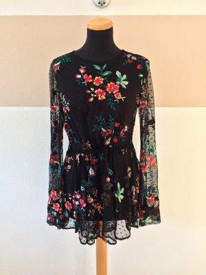 21102601 Schwarze bunt Blumenstickerei Bluse von Zara, Gr. M (NEUw.)
