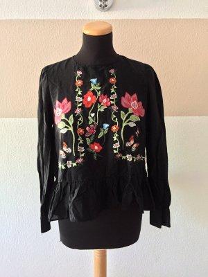 21102603 Schwarze Blumenstickerei Seide Bluse von Zara, Gr. S